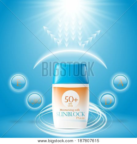 Sunblock Ads Template, Sun Protection Cosmetic Products. 3D Illustration For Magazine Or Ads.bottle