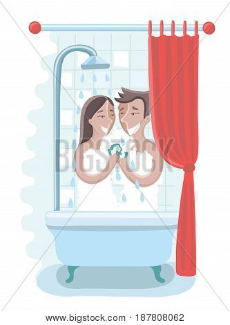 Vector cartoon fun illustration of loving affectionate nude young heterosexual couple taking shower and take care each other in love.