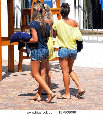 MAY 9, 2011. ST. THOMAS, VI. CIRCA:  Women on a cruise vacation shopping at a port of call in the caribbean for souvenirs,