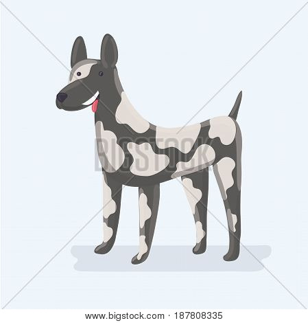 Vector illustration of cute funny Great Dane dog, standing in front