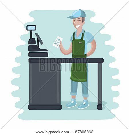 Funny vector cartoon illustration of cashier man