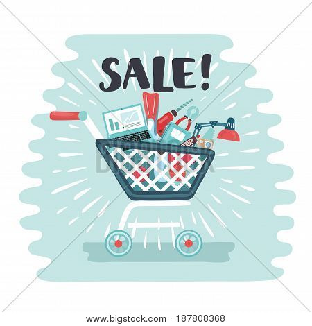 Vector cartoon funny illustration shopping trolley full of electornic goods and sport Big Sale supermarket purchases. and hand drawn word Sale! for advertising banner