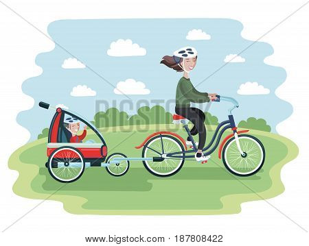 Colorful vector cartoon illustration of young Woman riding a bicycle with her cute Baby in bike trailers for kids and babiest riding in the park. Vector illustration for Mother's Day celebration. People in helmet
