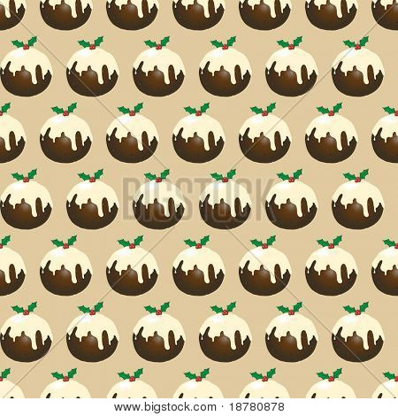 A seamless design of Christmas puddings with brandy butter. Also available in vector format.