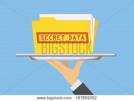 Hand holding Secret data folder in silver dish ready to send. Illustration about important information in doing business.
