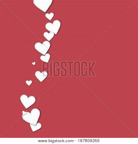 Cutout White Paper Hearts. Left Wave With Cutout White Paper Hearts On Crimson Background. Vector Il