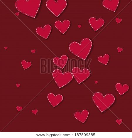 Red Stitched Paper Hearts. Chaotic Scatter Lines On Wine Red Background. Vector Illustration.