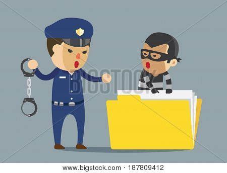 Security guard attempting to arrest bandit with handcuff which robbery business data.