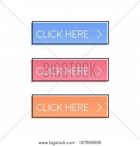 Click here. Button set in retro poster style. Web design vector illustration.
