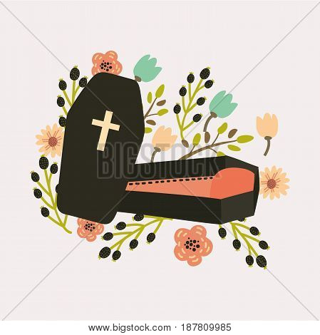 Vector illustration of cute coffin decorated with flowers. For your design cards and prints