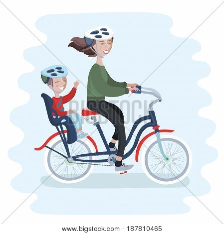 Young Woman riding a bicycle with her cute Baby in child bicycle seat. Vector illustration for Mother's Day celebration. People in helmet
