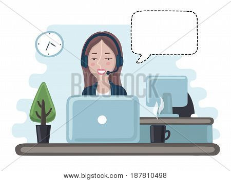 Vector cartoon illustration of pretty girl manage consultan in call center. Office worker and bubble speach
