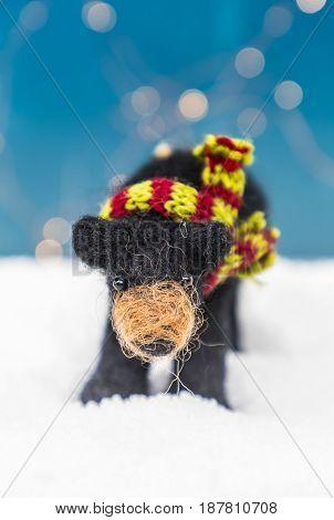 Felt Bear Ornament Straight On Vertical