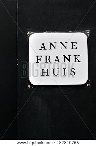 MAY 30, 2014. AMSTERDAM, NETHERLANDS. CIRCA:  Anne Frank house symbol displayed where she lived in Amsterdam.