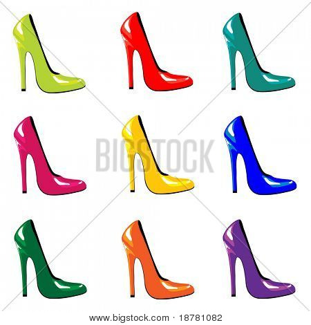 A vector illustration of bright, high-heel shoes isolated on white. EPS10 vector format.