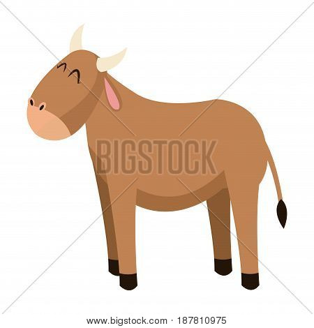 cute ox manger character catholicism vector illustration