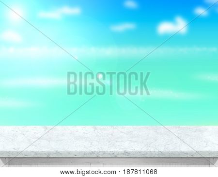 White Marble Table Top With Blurred Sea,sun And Beach At Background, Mock Up Template For Display Or