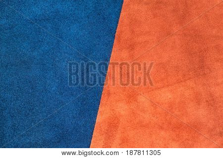 Close Up Suede Navy Blue And Orange Leather Divide At Half Ratio Texture Background,fabrics Division