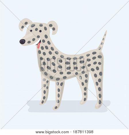 Vector illustration of funny cute cartoon dalmatian dog