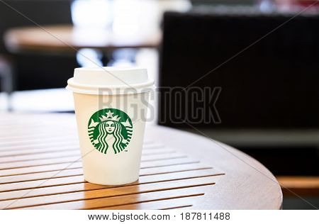 Bangkok Thailand-March 6 : Starbucks Hot beverage coffee on table on 6 March 2016 at department store Bangkok Thailand..