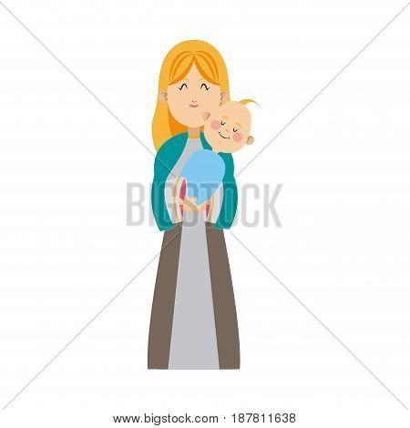 virgin mary holding baby jesus christmas image vector illustration