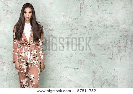 Elegant Woman Posing In Studio.