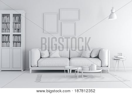 3d render of beautiful clean white interior