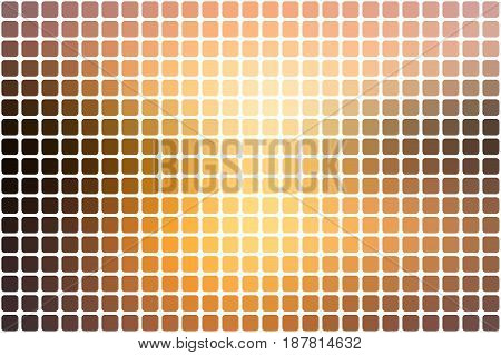 Yellow coral pink black vector abstract mosaic background with rounded corners square tiles over white