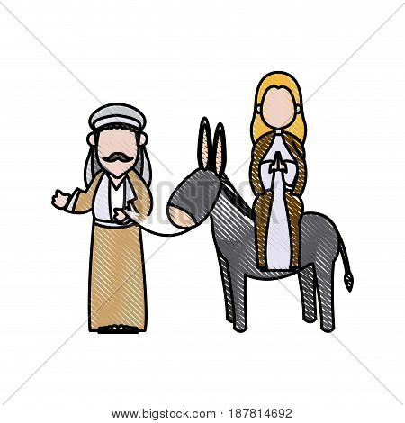 mary and joseph travelling by donkey to bethlehem vector illustration
