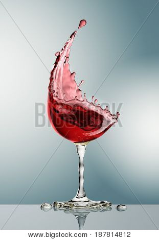 red wine glass on gray background. 3d rendering