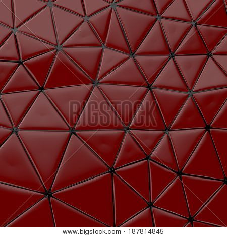 Abstract background of triangle polygons background. Red. 3d rendering