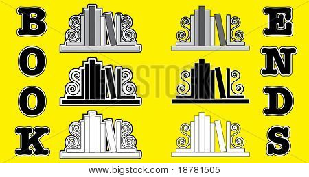 Stylized icons of books with bookends. Also available in vector format