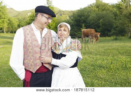 Couple Dressed With One Of The Traditional Basque Country Dresses.