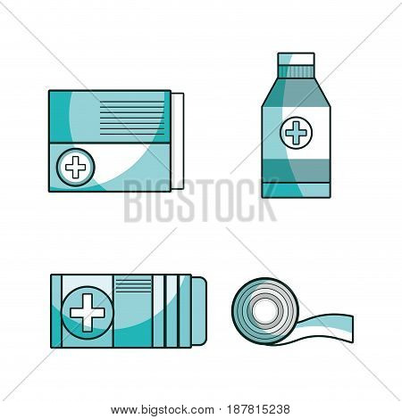 set first aid tools to help people, vector illustration