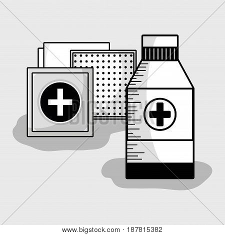 medical care tools to first aid, vector illustration