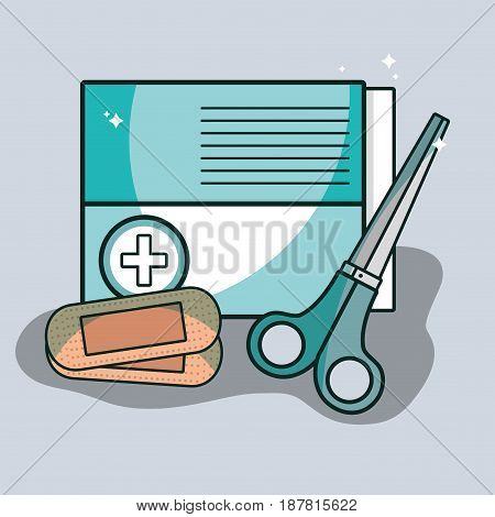 aid band box with scissor pharmacy tools, vector illustration