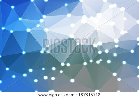White blue shades abstract low poly geometric background with defocused lights