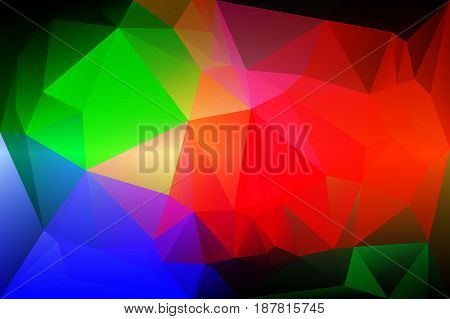 Green blue orange red abstract low poly geometric background