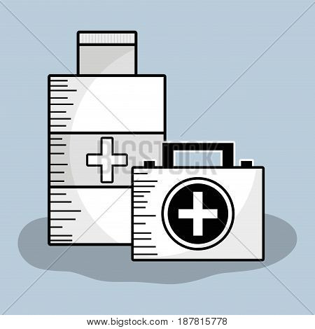 first aid briefcase with alcohol treatment, vector illustration