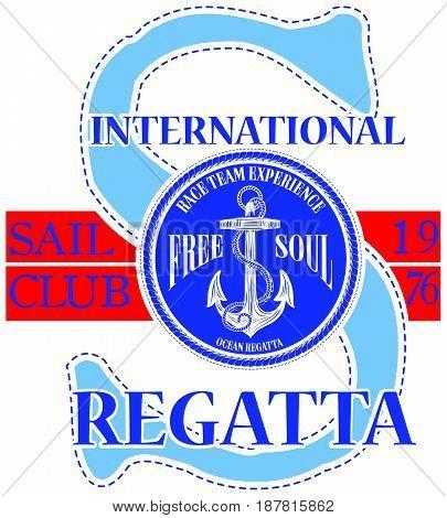 Sailing club logo with anchor fashion style