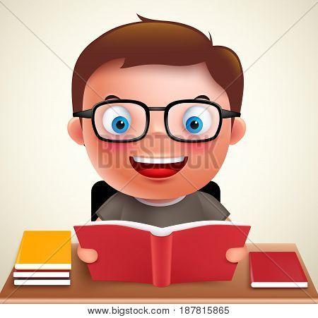 Smart preschool boy kid vector character holding and reading book and doing school homework in desk wearing eyeglasses. Vector illustration.