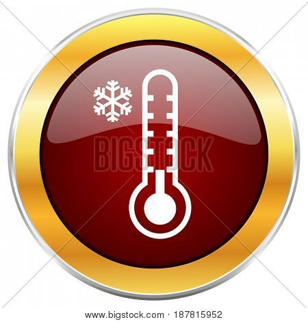 Cold thermometer red web icon with golden border isolated on white background. Round glossy button.