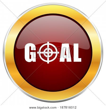 Goal red web icon with golden border isolated on white background. Round glossy button.