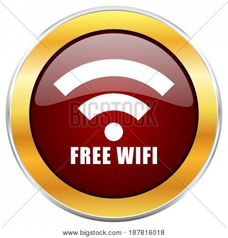 Free wifi red web icon with golden border isolated on white background. Round glossy button.