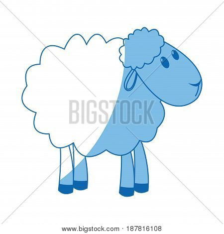 sheep manger animal character christmas vector illustration