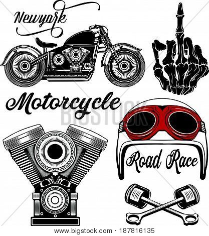 Motorcycle typography set t-shirt graphics vectors fashion style