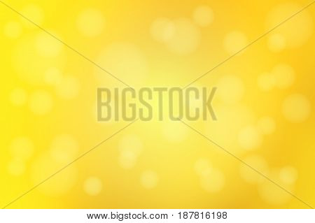 Bright golden yellow abstract blurred gradient mesh with bokeh light vector background