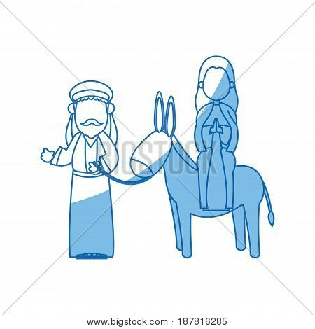 joseph and mary with donkey on the way to bethlehem vector illustration