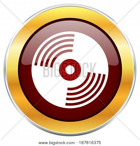 Vinyl music red web icon with golden border isolated on white background. Round glossy button.