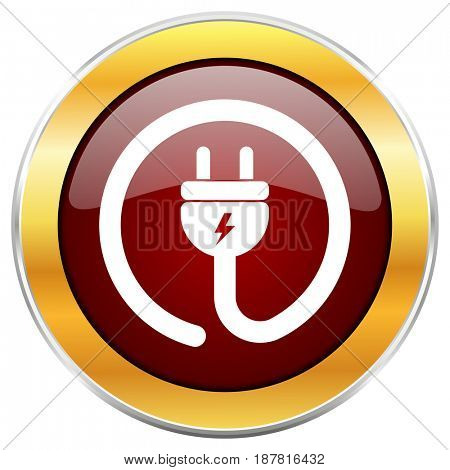 Electric plug red web icon with golden border isolated on white background. Round glossy button.